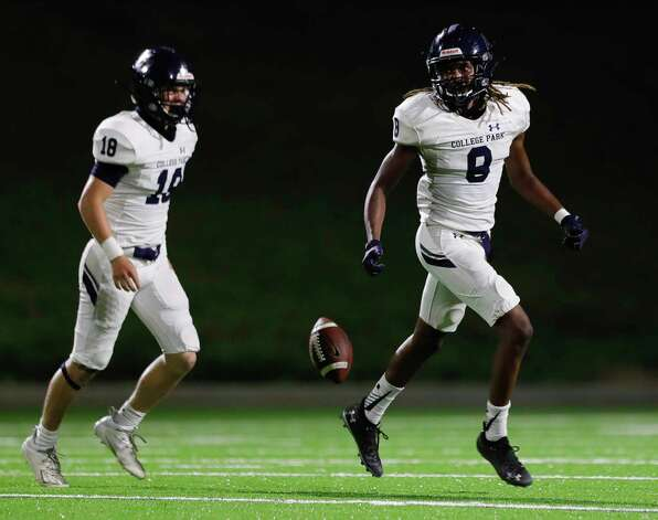 College Park defensive back Marcus Scott II (8) reacts after interepting a pass during the third quarter of a non-district high school football game at Edward Mercer Stadium, Saturday, Oct. 10, 2020, in Sugar Land. Photo: Jason Fochtman, Staff Photographer / 2020 © Houston Chronicle
