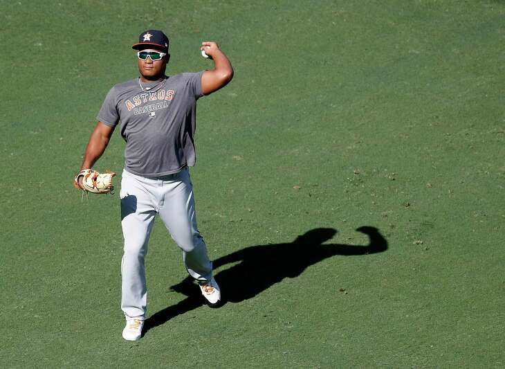 Houston Astros pitcher Framber Valdez tosses the ball during workouts at Petco Park, Saturday, October 10, 2020, in San Diego, as the Astros prepare for the 2020 American League Championship Series against the Tampa Bay Rays starting Sunday.