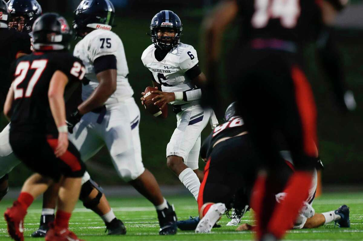 College Park quarterback Ty Buckmon (6) looks to pass during the second quarter of a non-district high school football game at Edward Mercer Stadium, Saturday, Oct. 10, 2020, in Sugar Land.