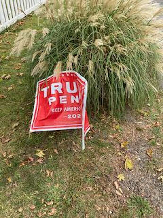A sign belong to F.X. Flaherty, a Post Road resident, showing support for President Donald Trump was destroyed outside his home, he said. Photo: F.X. Flaherty / Contributed Photo