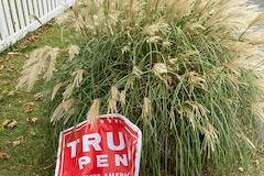 A sign belong to F.X. Flaherty, a Post Road resident, showing support for President Donald Trump was destroyed outside his home, he said.