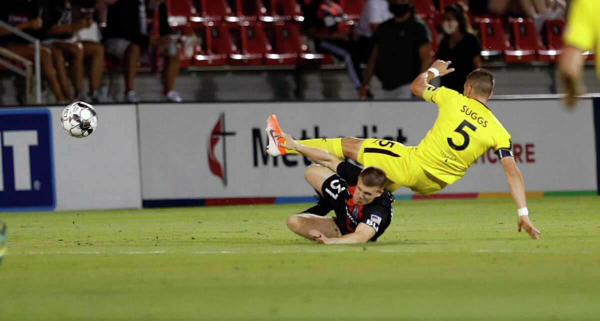 SAFC Connor Maloney takes out New Mexico United Josh Suggs. San Antonio FC vs. New Mexico United in Western Conference Quarterfinal match on Saturday, October 10, 2020 at Toyota Field.