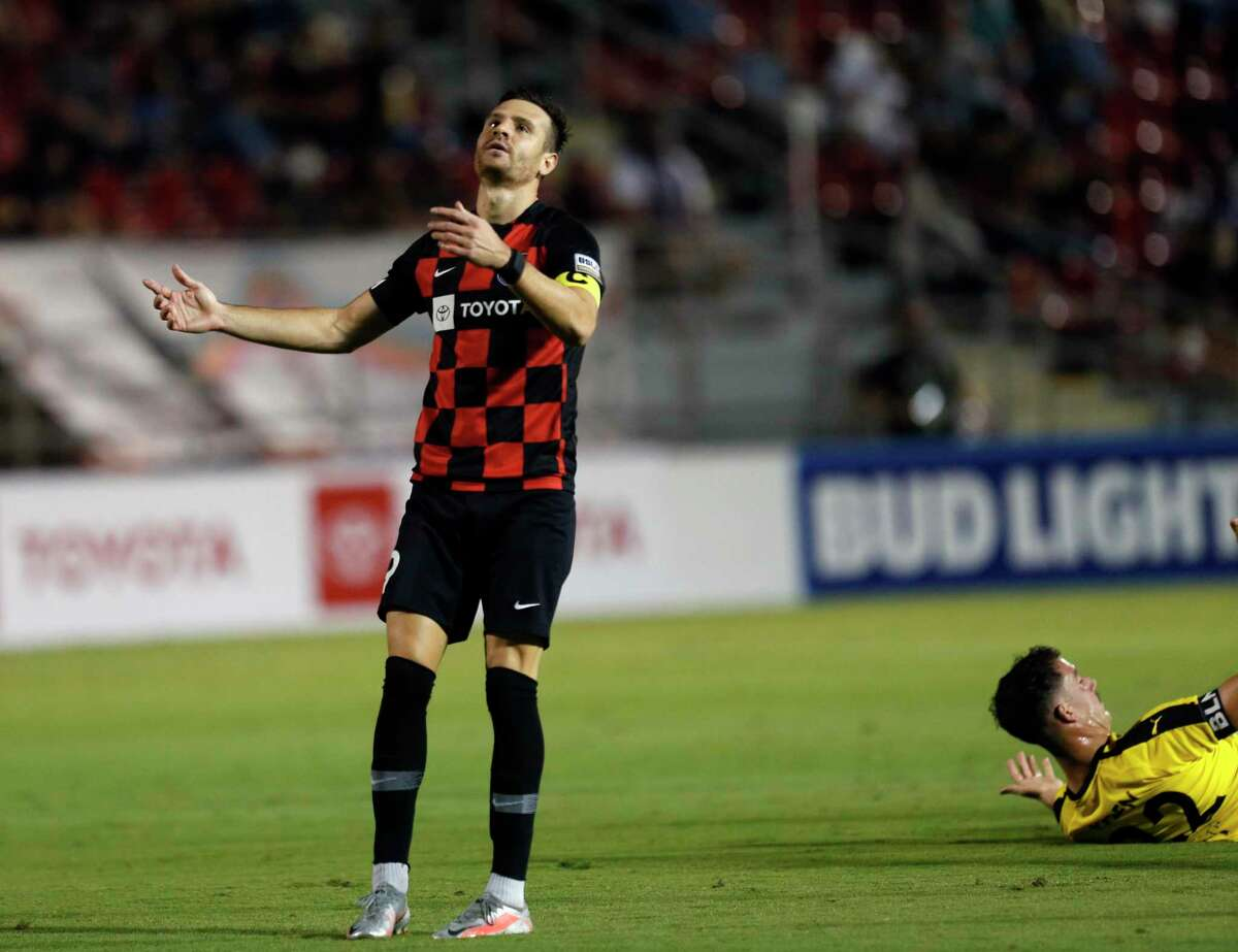 SAFC Luis Solignac reacts after a foul. San Antonio FC vs. New Mexico United in Western Conference Quarterfinal match on Saturday, October 10, 2020 at Toyota Field.