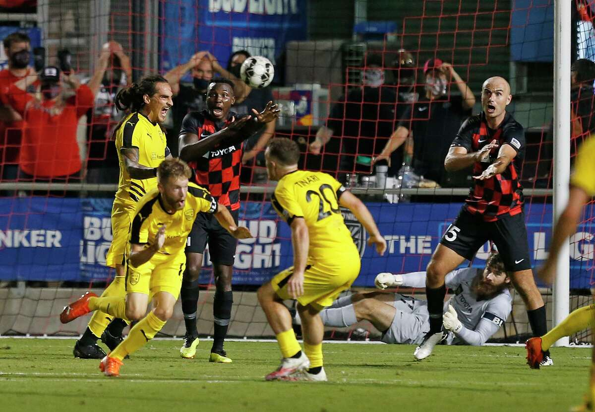 New Mexico begins to celebrate after winning goal in first OT period. San Antonio FC vs. New Mexico United in Western Conference Quarterfinal match on Saturday, October 10, 2020 at Toyota Field. New Mexico 1- SA 0 double OT