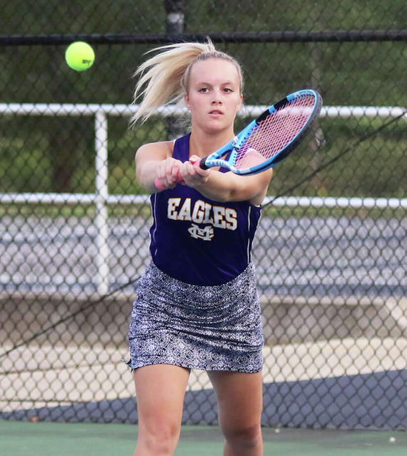 CM's Kennedy Loewen, shown in a match earlier this season, finished third in her singles flight for the Eagles on Saturday at the MVC Tourney in Troy.