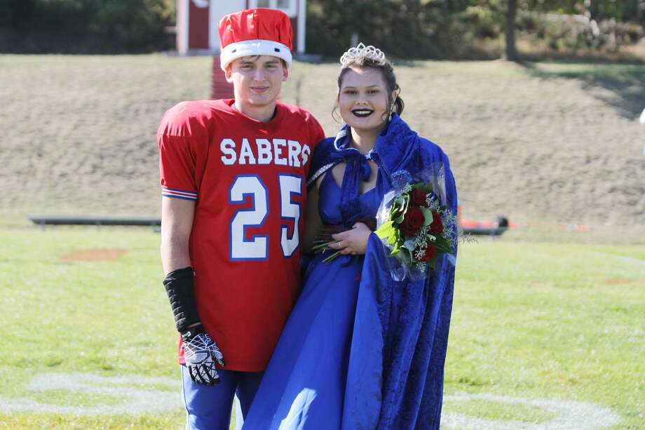 Manistee Catholic Central crowned seniors Adam Pierce and Kaya Watkins as 2020 Homecoming King and Queen during halftime of the Sabers' game against Portland St. Patrick on Saturday, Oct. 10, 2020. Photo: Dylan Savela/News Advocate