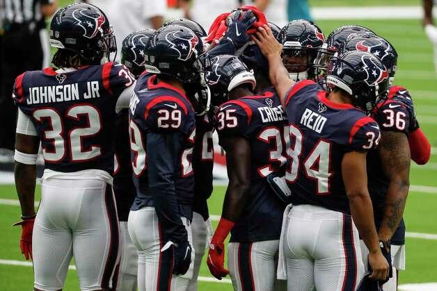 The Houston Texans defensive backs huddled up before an NFL football game at NRG Stadium on Sunday, Oct. 11, 2020, in Houston. Photo: Brett Coomer, Staff Photographer / © 2020 Houston Chronicle