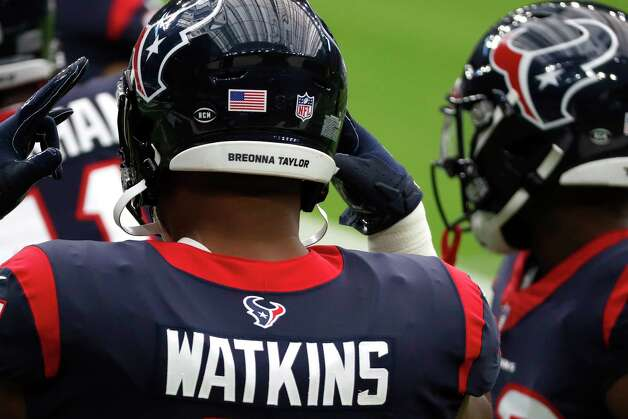 Houston Texans defensive end Carlos Watkins' helmet honors Breonna Taylor before an NFL football game at NRG Stadium on Sunday, Oct. 11, 2020, in Houston. Photo: Brett Coomer, Staff Photographer / © 2020 Houston Chronicle