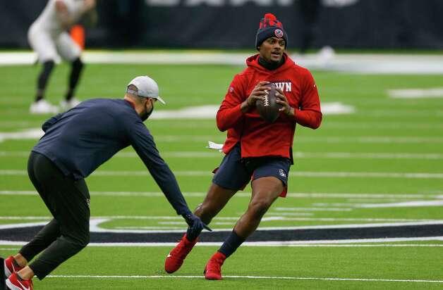 Houston Texans quarterback Deshaun Watson (4) throws the ball during warmup, before the NFL game against the Jacksonville Jaguars at NRG Stadium on Sunday, Oct. 11, 2020, in Houston. Photo: Godofredo A. Vásquez, Staff Photographer / © 2020 Houston Chronicle