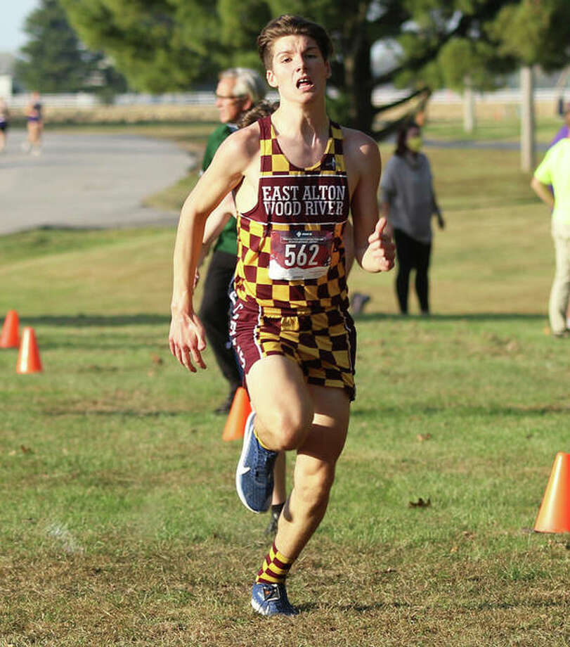 EA-WR's Aiden Loeffelman pushes to the finish line at Tuesday's Madison County small-schools meet at Belk Park in Wood River. On Saturday, Loeffelman ran seventh in the sophomore boys division at the EA-WR Invite at EA-WR High School. Photo: Greg Shashack / The Telegraph
