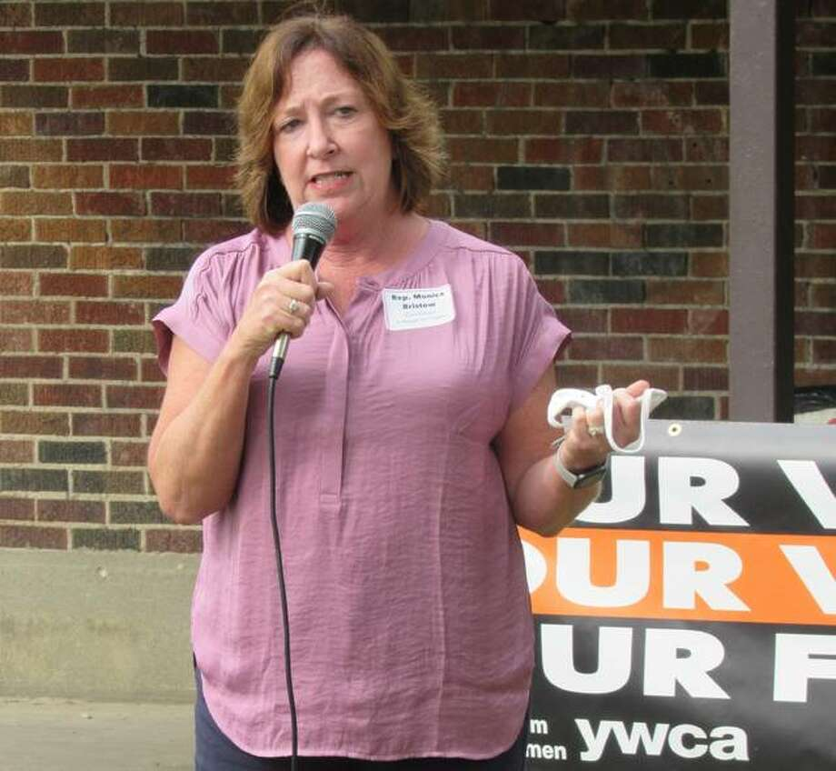 State Rep. Monica Bristow, D-Alton, addresses the YWCA of Alton's Get out the Vote committee's second Madison County Candidates Forum on Saturday in Alton's Kilion Park. She also spoke about Illinois' graduated tax amendment and Illinois House Speaker Michael Madigan.