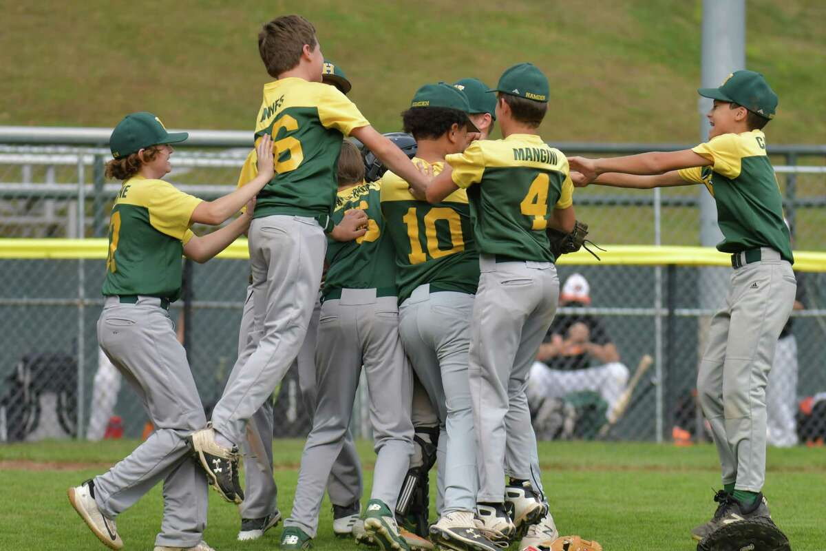 Hamden celebrates after winning the Connecticut Little League Championship on October 11, 2020 at Springdale Little League Field in Stamford, CT.