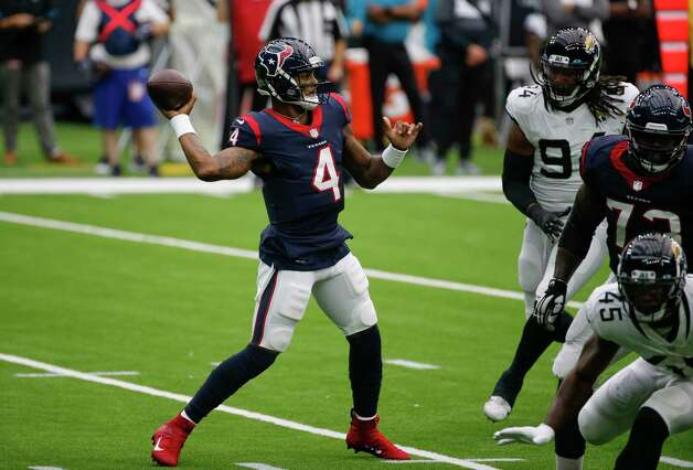 Houston Texans quarterback Deshaun Watson (4) throws the ball against the Jacksonville Jaguars during the first quarter of an NFL game at NRG Stadium on Sunday, Oct. 11, 2020, in Houston. Photo: Godofredo A. Vásquez, Staff Photographer / © 2020 Houston Chronicle
