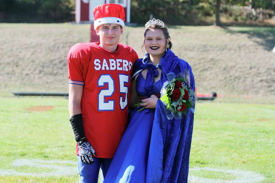 Manistee Catholic Central crowned seniors Adam Pierce and Kaya Watkins as 2020 Homecoming King and Queen during halftime of the Sabers' game against Portland St. Patrick on Saturday, Oct. 10, 2020. (Dylan Savela/News Advocate)