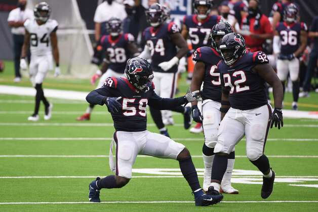 Houston Texans outside linebacker Whitney Mercilus (59) celebrates with teammates after the sacked Jacksonville Jaguars quarterback Gardner Minshew for a loss during the second half of an NFL football game Sunday, Oct. 11, 2020, in Houston. (AP Photo/Eric Christian Smith) Photo: Eric Christian Smith, Associated Press / Copyright 2019 The Associated Press. All rights reserved.