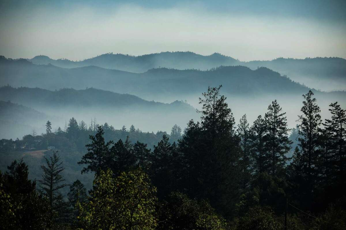 A view of smoke from the Glass Fire over the hills from Calistoga Road early this month.