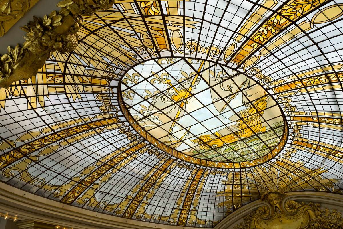 The ornate stained glass ceiling of the Rotunda at Neiman Marcus is pictured March 17, 2017. The Rotunda will reopen for private events this holiday season, Neiman Marcus said.
