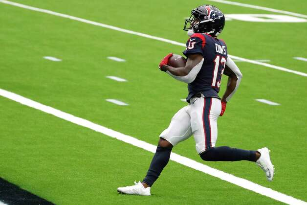 Houston Texans wide receiver Brandin Cooks (13) crosses the goal line after beating the Jacksonville Jaguars defense for a 28-yard touchdown reception during the fourth quarter of an NFL football game at NRG Stadium on Sunday, Oct. 11, 2020, in Houston. Photo: Brett Coomer, Staff Photographer / © 2020 Houston Chronicle