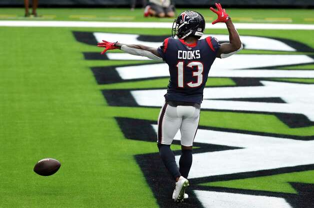 Houston Texans wide receiver Brandin Cooks (13) celebrates after beating the Jacksonville Jaguars defense for a 28-yard touchdown reception during the fourth quarter of an NFL football game at NRG Stadium on Sunday, Oct. 11, 2020, in Houston. Photo: Brett Coomer, Staff Photographer / © 2020 Houston Chronicle