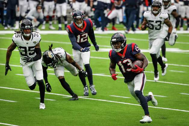 Houston Texans wide receiver Brandin Cooks (13) beats the Jacksonville Jaguars defense for a 28-yard touchdown reception during the fourth quarter of an NFL football game at NRG Stadium on Sunday, Oct. 11, 2020, in Houston. Photo: Brett Coomer, Staff Photographer / © 2020 Houston Chronicle