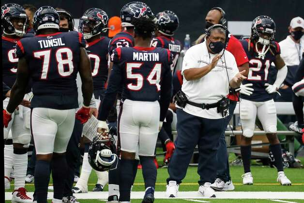 Houston Texans interim head coach Romeo Crennel cheers on his players as they come off the field during the fourth quarter of an NFL football game against the Jacksonville Jaguars at NRG Stadium on Sunday, Oct. 11, 2020, in Houston. Photo: Brett Coomer, Staff Photographer / © 2020 Houston Chronicle