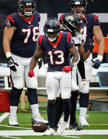 Houston Texans wide receiver Brandin Cooks (13) celebrates a long first down reception against the Jacksonville Jaguars during the fourth quarter of an NFL football game at NRG Stadium on Sunday, Oct. 11, 2020, in Houston. Photo: Brett Coomer, Staff Photographer / © 2020 Houston Chronicle