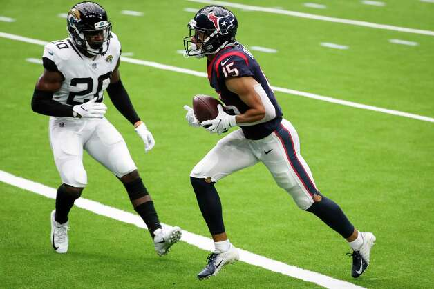Houston Texans wide receiver Will Fuller (15) runs into the end zone past Jacksonville Jaguars safety Daniel Thomas (20) after making a 19-yard touchdown reception during the third quarter of an NFL football game at NRG Stadium on Sunday, Oct. 11, 2020, in Houston. Photo: Brett Coomer, Staff Photographer / © 2020 Houston Chronicle