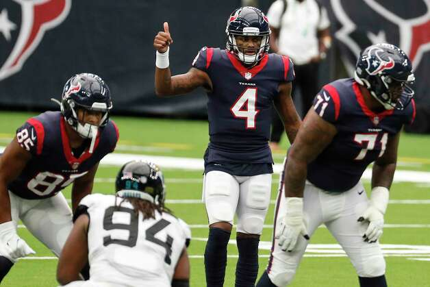 Houston Texans quarterback Deshaun Watson (4) gives a thumbs up as he signals a play against the Jacksonville Jaguars during the third quarter of an NFL football game at NRG Stadium on Sunday, Oct. 11, 2020, in Houston. Photo: Brett Coomer, Staff Photographer / © 2020 Houston Chronicle