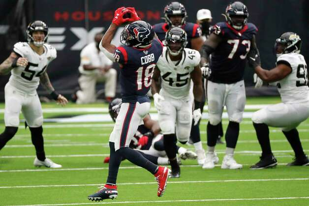 Houston Texans wide receiver Randall Cobb (18) makes a catch against the Jacksonville Jaguars during the third quarter of an NFL football game at NRG Stadium on Sunday, Oct. 11, 2020, in Houston. Photo: Brett Coomer, Staff Photographer / © 2020 Houston Chronicle