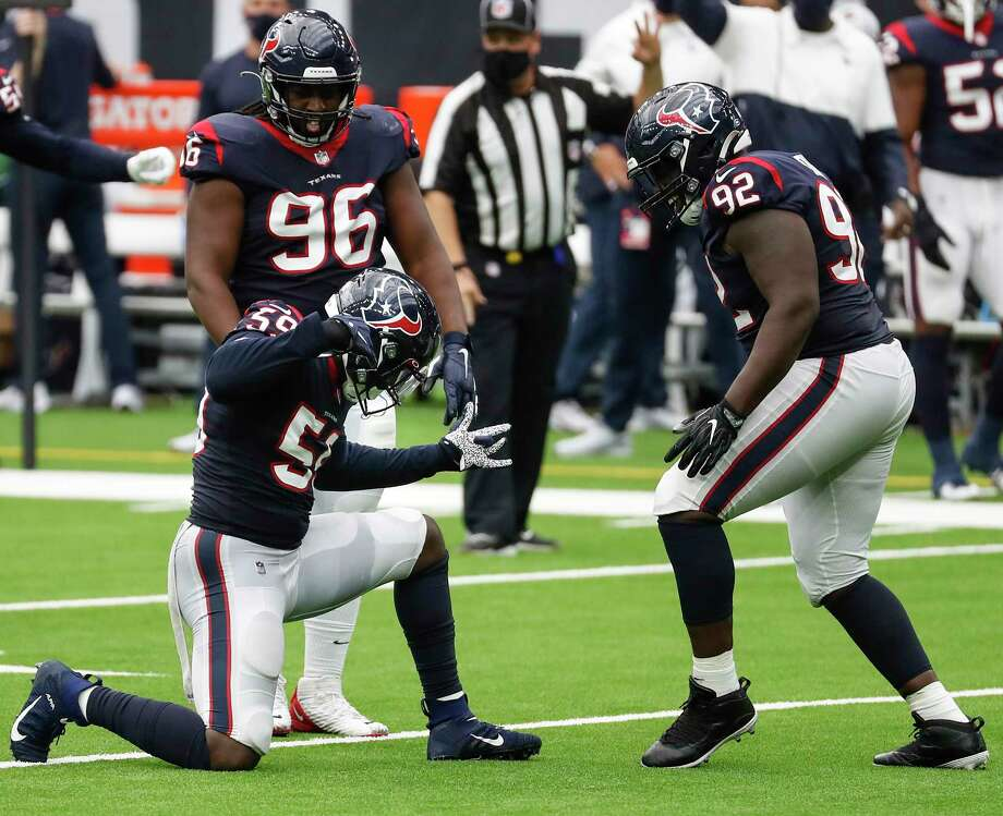 Houston Texans outside linebacker Whitney Mercilus (59) celebrates after sacking Jacksonville Jaguars quarterback Gardner Minshew (15) during the third quarter of an NFL football game at NRG Stadium on Sunday, Oct. 11, 2020, in Houston. Photo: Brett Coomer, Staff Photographer / © 2020 Houston Chronicle