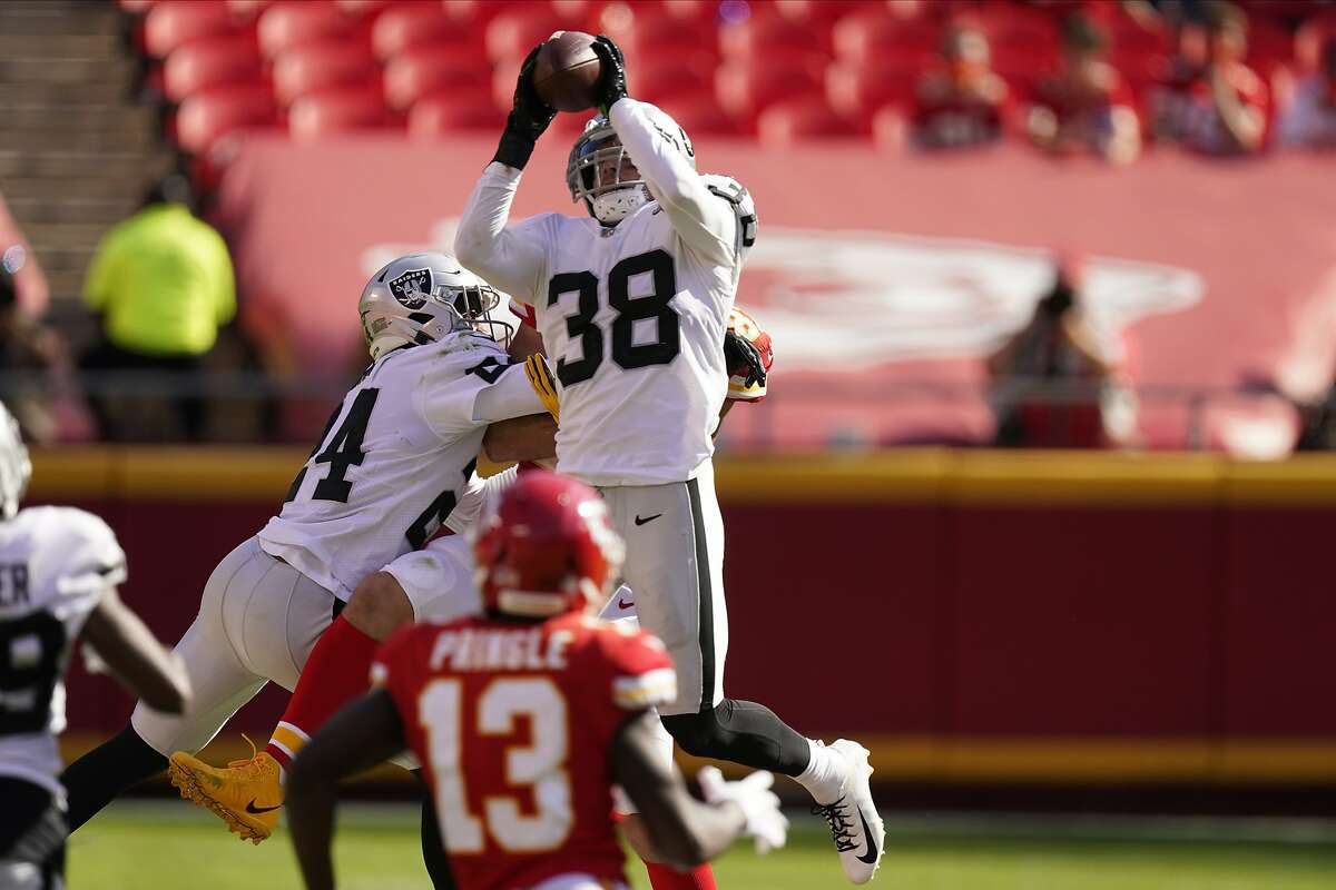 Raiders strong safety Jeff Heath (38) intercepts Chiefs quarterback Patrick Mahomes during the second half of Las Vegas' 40-32 win on Oct. 11. It was Mahomes' only interception of the season.