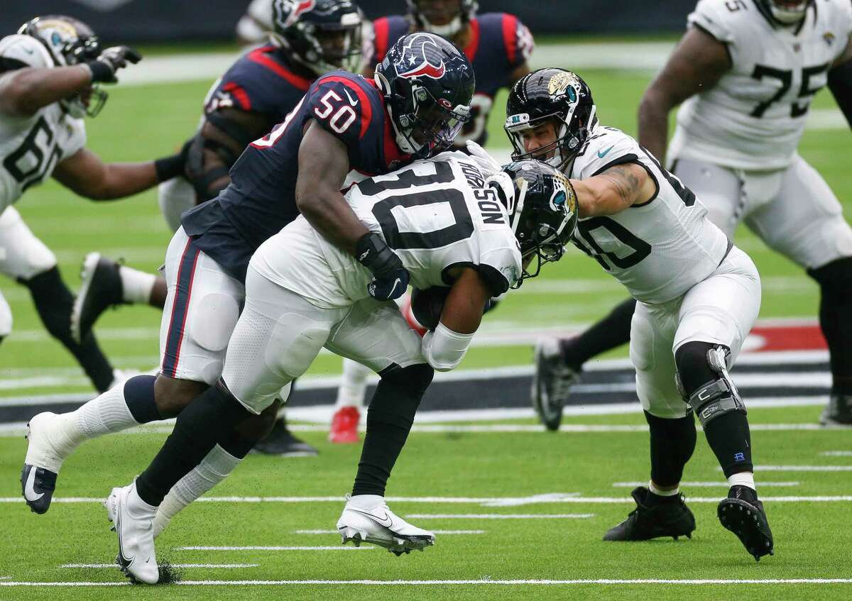 Tyrell Adams and the Texans put the clamps on Jaguars running back James Robinson during the teams' first meeting. Robinson figures to get lots of carries with Jacksonville QB Jake Luton making his first NFL start Sunday.