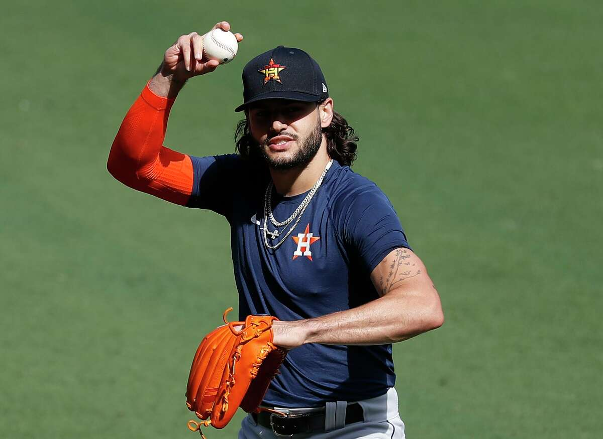 Game 2 Astros starter Lance McCullers Jr. limbers up during Saturday's workout at Petco Park.