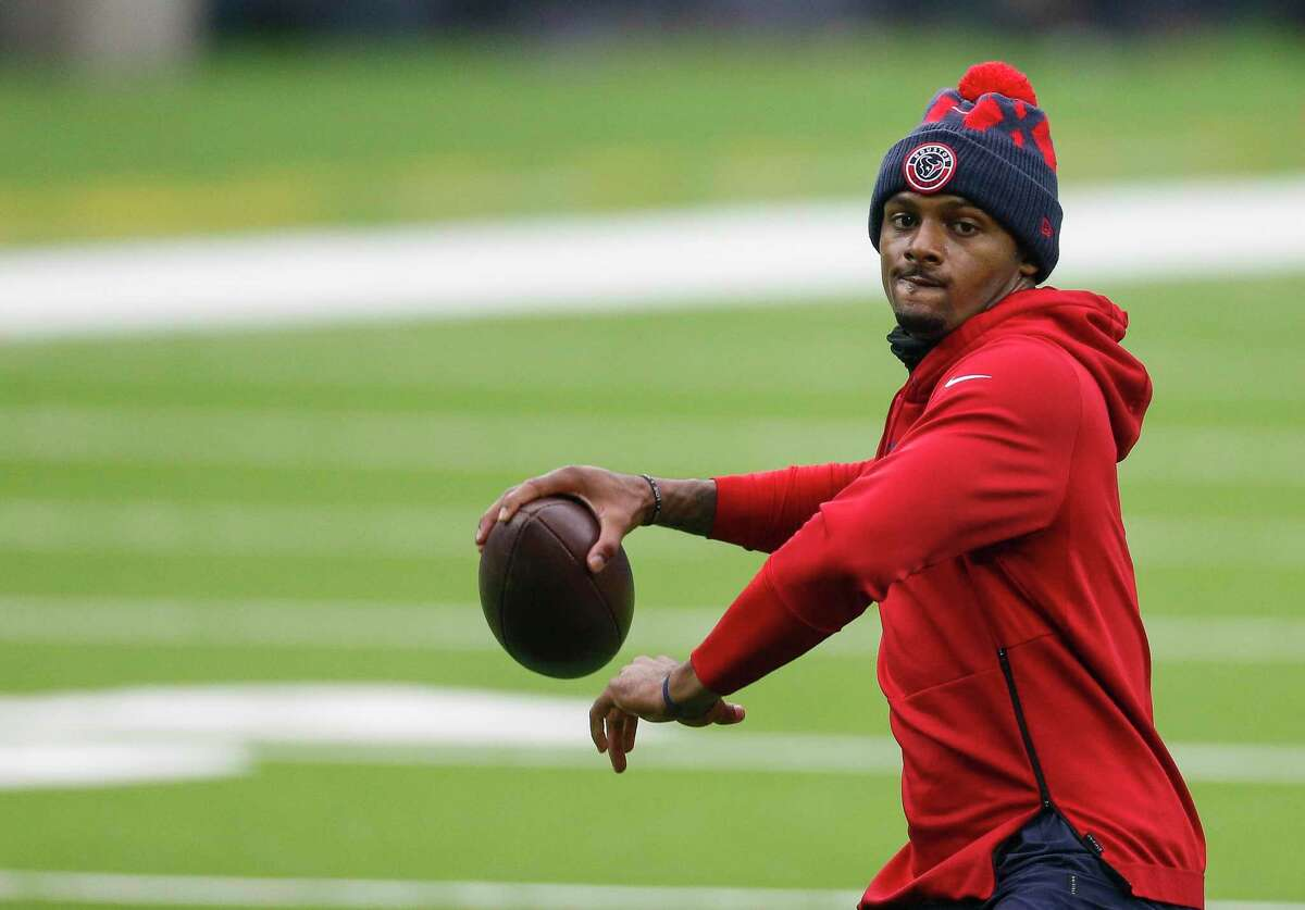 Houston Texans quarterback Deshaun Watson (4) throws the ball during warmup, before the NFL game against the Jacksonville Jaguars at NRG Stadium on Sunday, Oct. 11, 2020, in Houston.