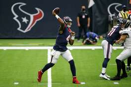 Houston Texans quarterback Deshaun Watson (4) throws the ball against the Jacksonville Jaguars during the first quarter of an NFL game at NRG Stadium on Sunday, Oct. 11, 2020, in Houston.