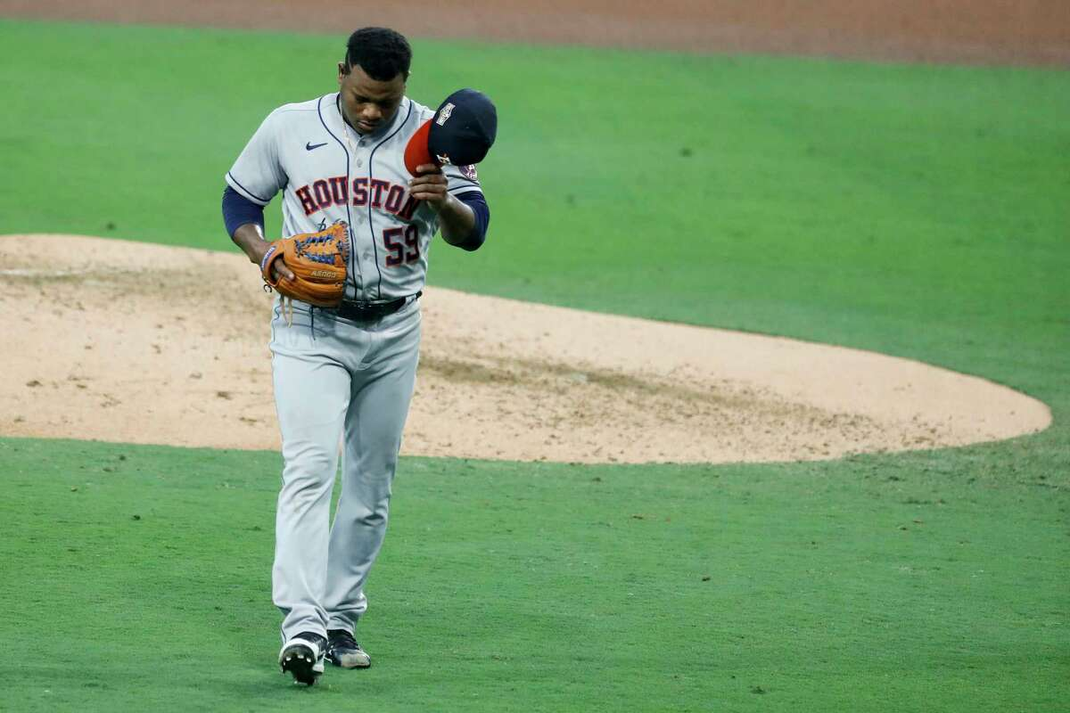 Houston Astros Framber Valdez (59) walks off the field after striking out Tampa Bay Rays Yandy Diaz to end the fourth inning of Game 1 of the American League Championship Series at Petco Park Sunday, Oct. 11, 2020, in San Diego.
