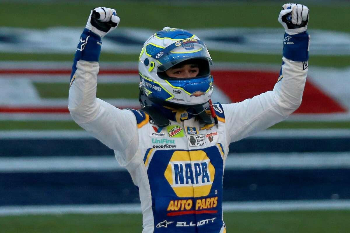 Chase Elliott celebrates after winning Sunday's NASCAR Cup Series race.