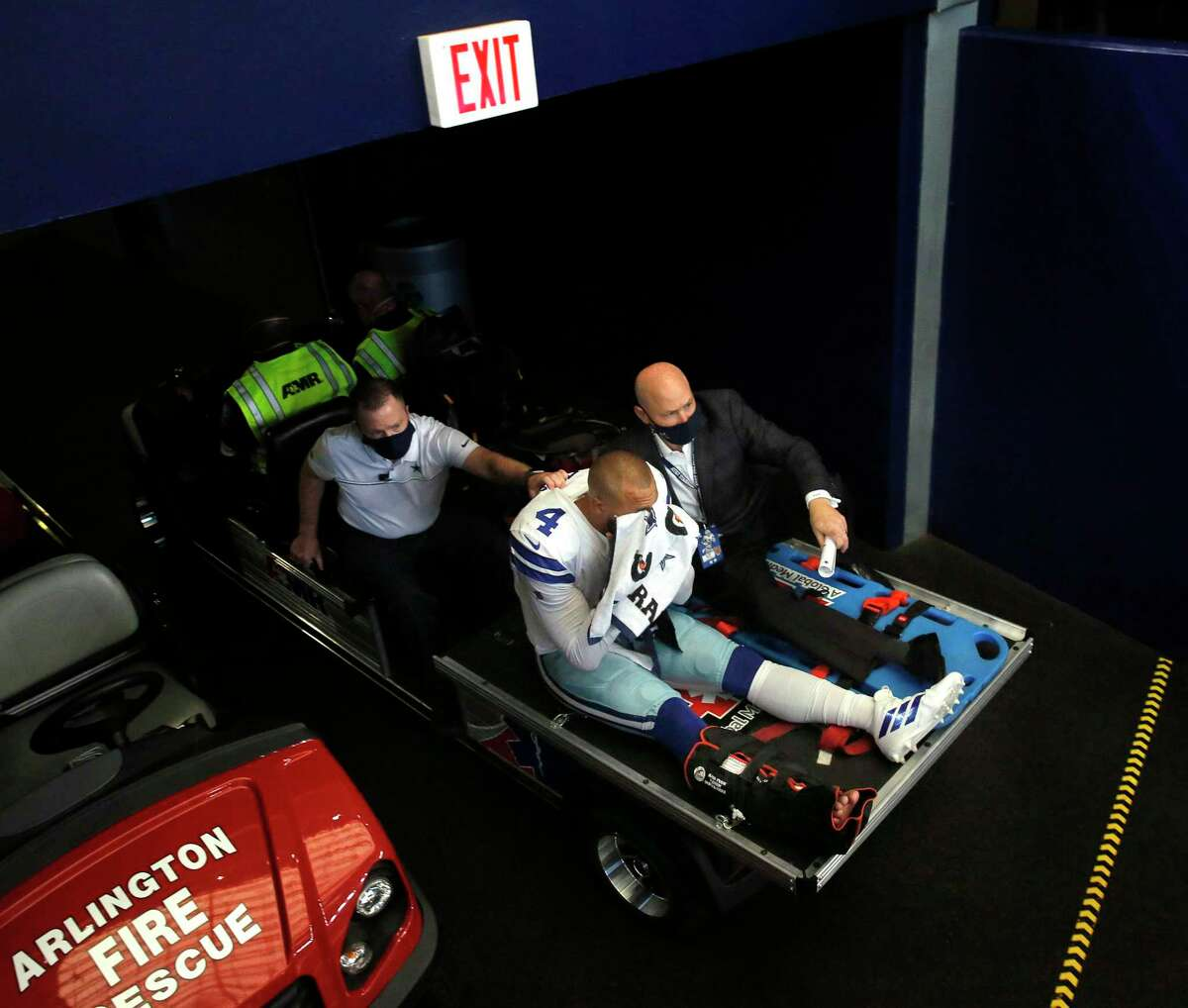 Dallas Cowboys quarterback Dak Prescott (4) is carted off the field after sustaining an ankle injury in the third quarter against the New York Giants on Sunday, Oct. 11, 2020 at AT&T Stadium Stadium in Arlington, Texas. (Tom Fox/The Dallas Morning News/TNS)
