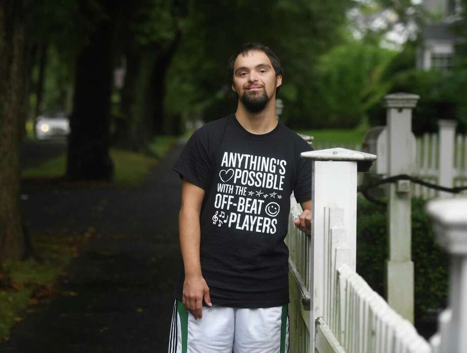 Abilis client Danny Clarke poses outside his home in Greenwich, Conn. Wednesday, Aug. 19, 2020. Photo: File / Tyler Sizemore / Hearst Connecticut Media / Greenwich Time
