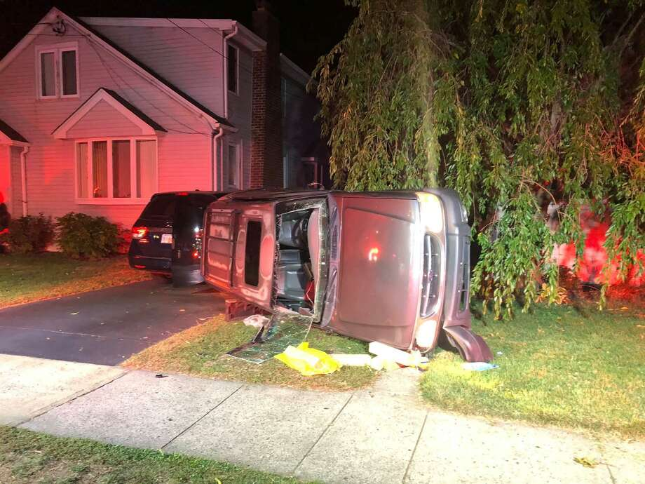 The aftermath of a rollover crash on Chidsey Avenue in East Haven, Conn., on Saturday, Oct. 10, 2020. Photo: Contributed Photo / East Haven Firefighters Local 1205