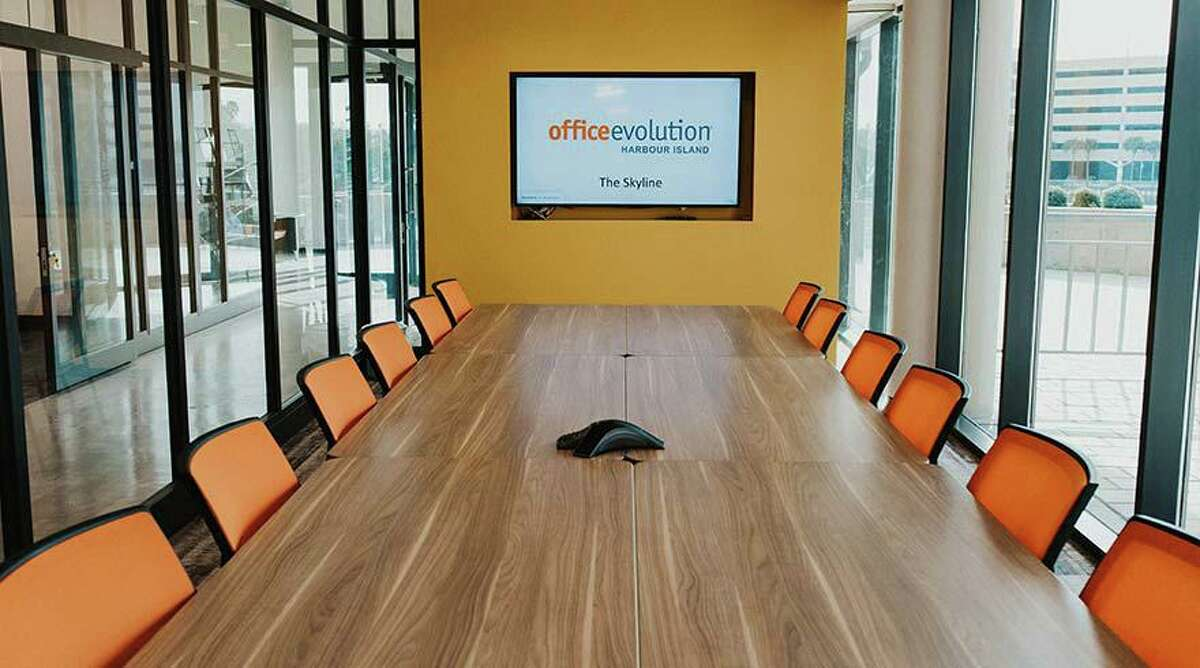 A conference room at Office Evolution The Woodlands. OETW operator/partner Phil Anderson sees a trend where workers are remote from home but they need a gathering spot to come together on occasion.