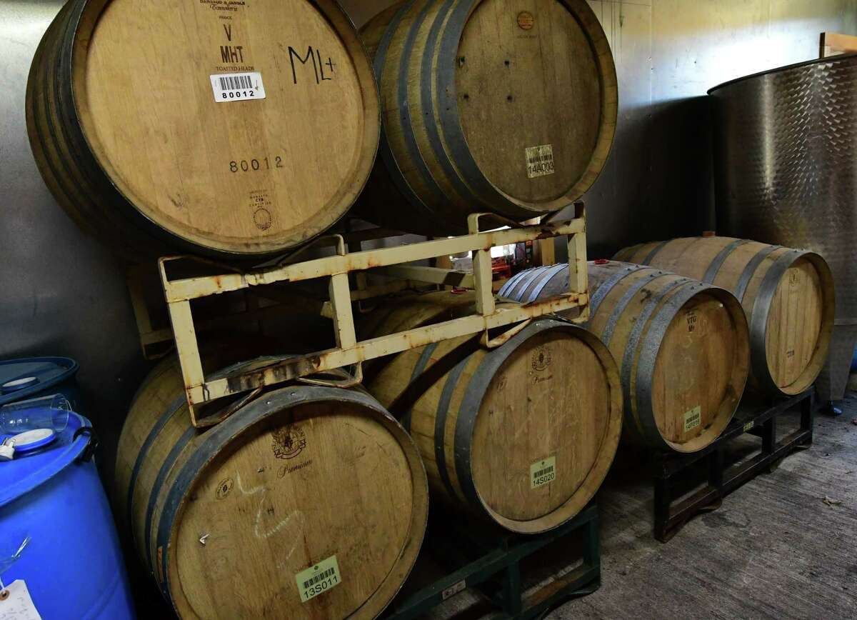 French oak barrels are seen at Sabba Vineyard on Friday, Oct. 9, 2020 in Old Chatham, N.Y. (Lori Van Buren/Times Union)