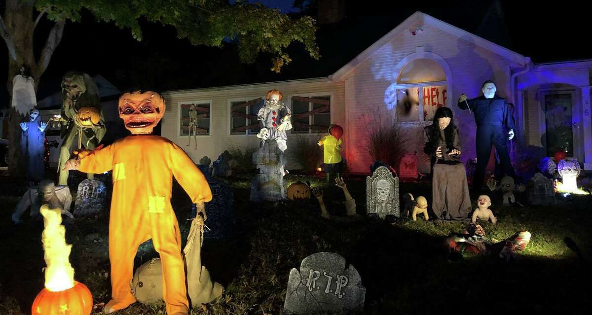 Mike Piro, a lifelong horror-movie buff, has decked out his Hazelwood Lane property in Stamford with iconic characters and monsters.
