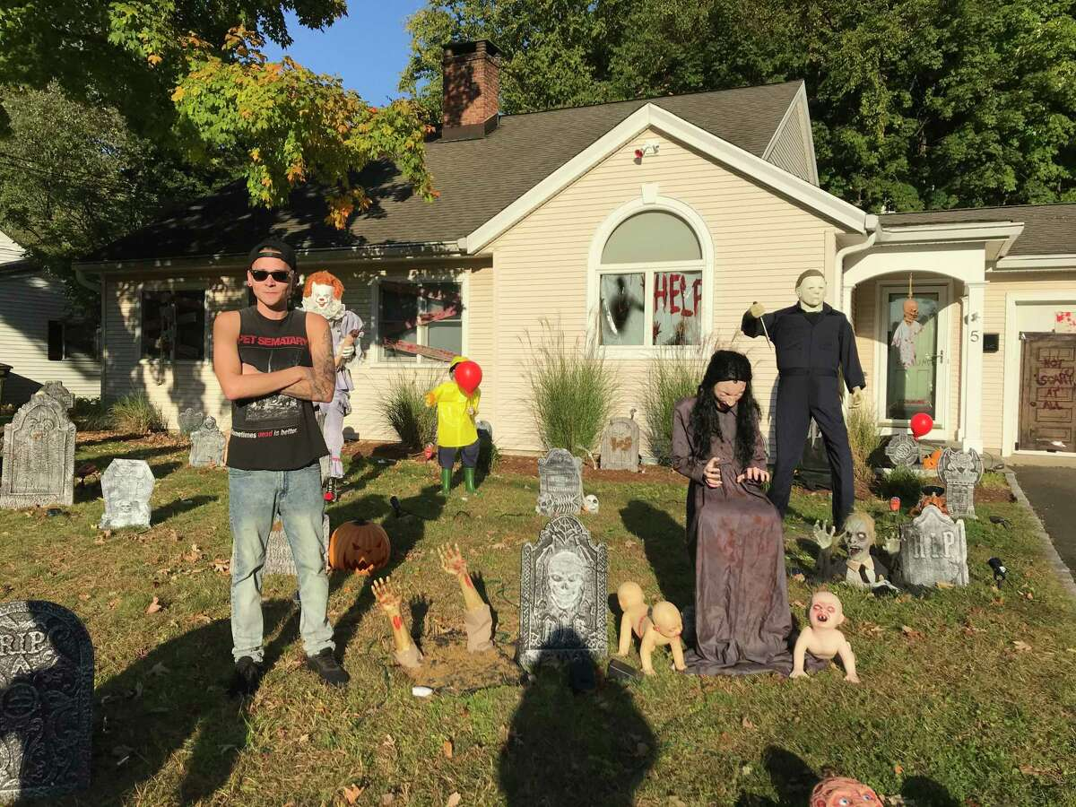 Stamford's Mike Piro, a lifelong horror-movie buff, has decked out his Hazelwood Lane property with iconic characters and monsters.