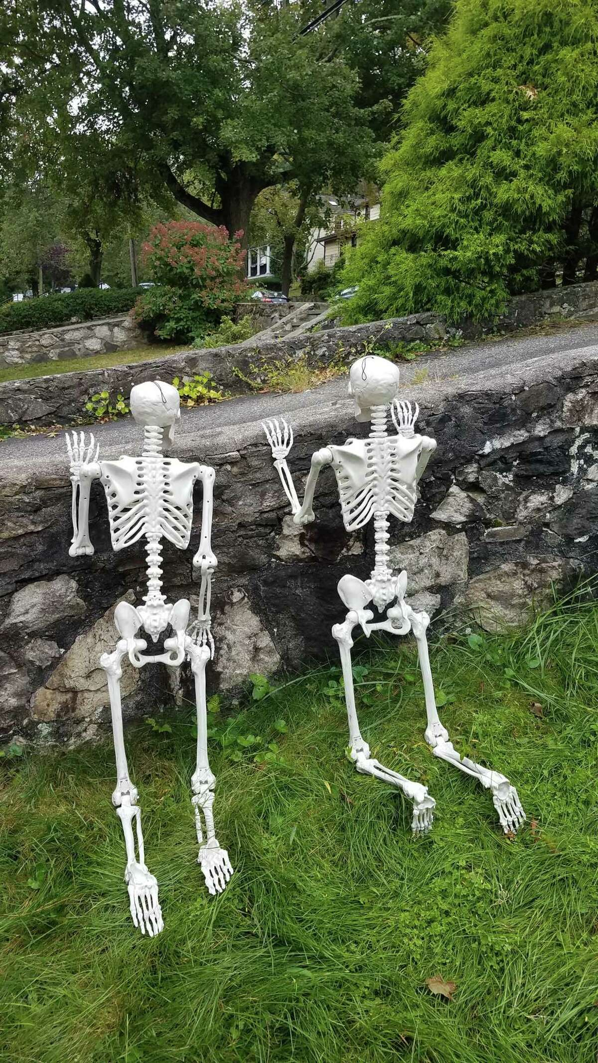 Two large skeletons appear in different scenarios in Erin and Mike Dummeyer's Springdale yard.