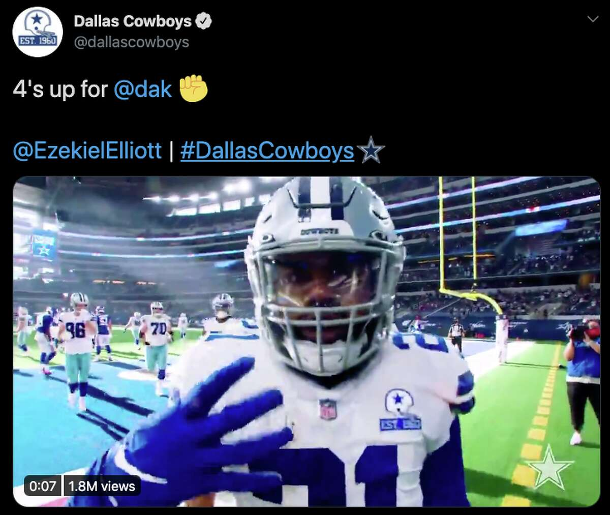 """The Cowboys team account supported its QB with a tweet encouraging fans to put """"4's up"""" for Prescott, a nod to his jersey number."""