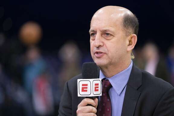 PHILADELPHIA, PA - DECEMBER 18: ESPN analyst Jeff Van Gundy talks prior to the game between the Miami Heat and Philadelphia 76ers at the Wells Fargo Center on December 18, 2019 in Philadelphia, Pennsylvania. NOTE TO USER: User expressly acknowledges and agrees that, by downloading and/or using this photograph, user is consenting to the terms and conditions of the Getty Images License Agreement. (Photo by Mitchell Leff/Getty Images)
