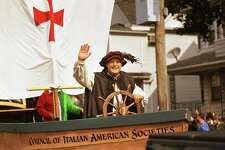 Tom Naples, of Bridgeport, portrays Christopher Columbus in the annual Columbus Day Parade on Madison Avenue in Bridgeport on Sunday. This year's parade was scaled down dramatically due to the Covid-19 pandemic.