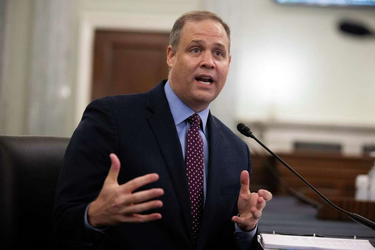 """NASA Administrator Jim Bridenstine speaks during a Senate Commerce, Science, and Transportation Committee hearing in Washington, D.C., on Sept. 30, 2020. The hearing is titled """"NASA Missions and Programs: Update and Future Plans."""""""