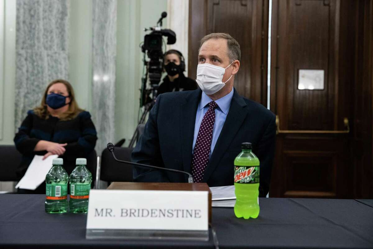 """NASA Administrator Jim Bridenstine wears a mask during a Senate Commerce, Science, and Transportation Committee hearing in Washington, D.C., Sept. 30, 2020. The hearing is titled """"NASA Missions and Programs: Update and Future Plans."""""""